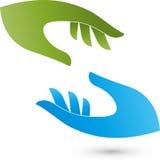 Deux logos de mains, d'aide et de médecine Images stock