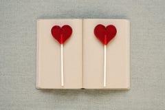 Deux lucettes en forme de coeur sur un vieux journal intime Image stock