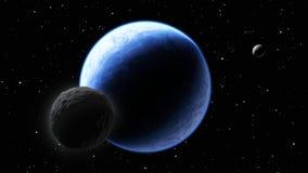 Deux lunes satellisant une planète comme une terre Image libre de droits