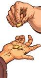 Deux mains avec des pièces de monnaie Photographie stock