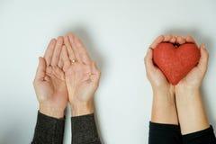 Deux mains avec un coeur sur un fond blanc Jour du `s de Valentine Photo libre de droits