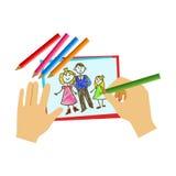 Deux mains colorant avec le crayon une page de livre de coloriage, école primaire Art Class Vector Illustration Photographie stock libre de droits
