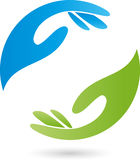 Deux mains dans le logo vert et bleu, de massage et de bien-être illustration stock