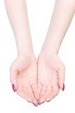 Deux mains de femme en étirant la pose Image stock