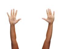 Deux mains de femme ondulant des mains Images stock
