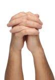 Deux mains de prière d'isolement Image stock