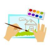 Deux mains dessinant avec la peinture et la brosse, école primaire Art Class Vector Illustration Image stock