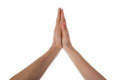 Deux mains faisant de hauts cinq Photo libre de droits