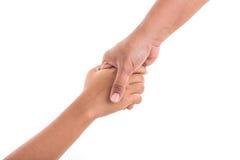 Deux mains liant Concept d'aide ou de soutien d'isolement en fonction Photographie stock libre de droits