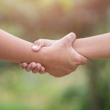 Deux mains liant Concept d'aide ou de soutien Sur le bl vert Photographie stock libre de droits