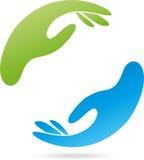 Deux mains, physiothérapie, ergothérapie, logo images libres de droits