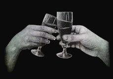 Deux mains tenant des verres de champagne Image libre de droits