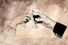 Deux mains tenant des verres de champagne Photo libre de droits