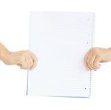 Deux mains tenant le papier vide Photographie stock