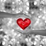 Deux mains tenant le shap rouge de coeur sur le bokeh noir et blanc Photographie stock libre de droits