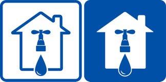 Robinet de logo avec une goutte de l 39 eau illustration for Logo avec une maison