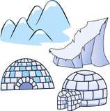 Deux maisons d'igloo d'hiver, banquise et montagnes de chute de neige Photo stock