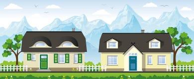 Deux maisons de campagne classiques Photographie stock