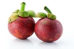 Deux mangoustans d'isolement sur le blanc Image stock