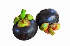 Deux mangoustans frais sur le fond blanc Photo stock