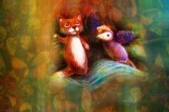 Deux marionnettes animales, renard et oiseau violet, sur le fond abstrait avec l'espace des textes Photos libres de droits