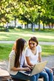 Deux meilleurs amis en parc, souriant et travaillant sur l'ordinateur portable Photo libre de droits