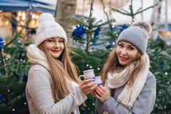 Deux meilleurs amis féminins buvant du vin chaud sur le deco o de Noël Photo libre de droits