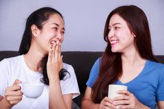 Deux meilleurs amis parlant et buvant une tasse de café sur le sofa dedans Images stock