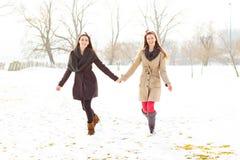 Deux meilleurs amis tenant des mains et la marche Photographie stock libre de droits