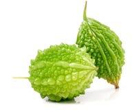 Deux melon ou momordica amer vert d'isolement sur le fond blanc Photos libres de droits