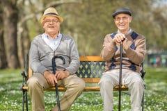 Deux messieurs pluss âgé s'asseyant sur un banc en parc Image libre de droits