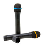Deux microphones sans fil d'isolement sur un fond blanc Images libres de droits