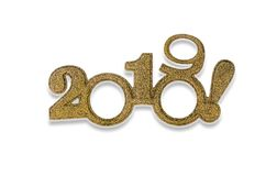 Deux mille et dix-neuf Nouvel 2019 ans sur le blanc Photos stock