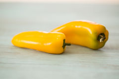 Deux Mini Sweet Bell Peppers jaune Photographie stock libre de droits