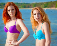 Deux modèles de bikini posant sur une plage. Photographie stock libre de droits