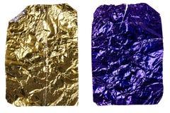 Deux morceaux chiffonnés de papier d'aluminium Photographie stock libre de droits