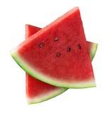 Deux morceaux de triangle de pastèque d'isolement sur le blanc Photographie stock libre de droits