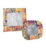 Deux mur grunge en blanc, cadres peints colorés de carton, d'isolement sur le blanc Photographie stock