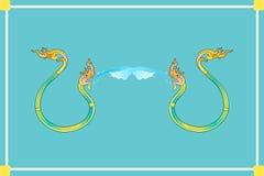 Deux Nagas pulvérisent l'eau sur le fond bleu illustration libre de droits