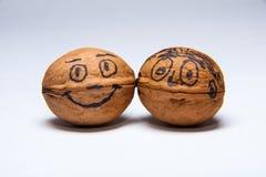 Deux noix heureuses photo libre de droits