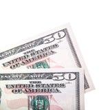 Deux notes des 50 dollars Photos stock