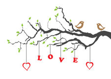 Deux oiseaux d'amour et arbres d'amour Photos stock