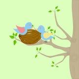 Deux oiseaux et un nid illustration stock