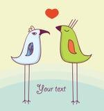 Deux oiseaux mignons dans l'amour Images stock