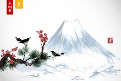 Deux oiseaux sur la branche de Sakura et de pin et la montagne de Fujyama Sumi-e japonais traditionnel de peinture d'encre contie Images libres de droits