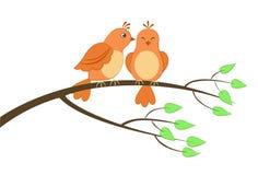 Deux oiseaux sur un arbre Image libre de droits