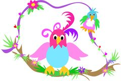 Deux oiseaux sur un branchement de oscillation illustration libre de droits