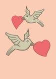 Deux oiseaux tenant la forme de coeur dans des becs et volant en air Photographie stock libre de droits