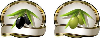 Deux olives d'étiquettes : noir et vert Photos libres de droits
