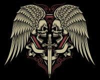 Deux ont fait face au crâne avec les ailes et l'épée Photos stock
